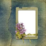 Old photoalbum with grunge frame and bunch Royalty Free Stock Image