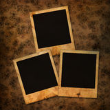 Old photoframes. Are hanging on the vintage background Royalty Free Stock Photo