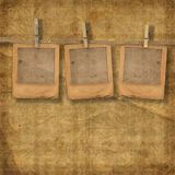 Old photoframes are hanging in the row vector illustration
