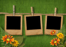 Old photoframes are hanging in the row Royalty Free Stock Images