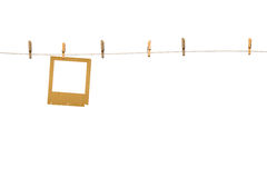 Old photoframes are hanging in the row Royalty Free Stock Image