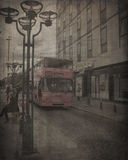 Old Photograph of a Bus. Vintage photograph of a red bus in a street in Hamburg, Germany Stock Photos