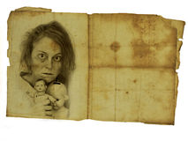 Old photograph. Of crazy woman with two dolls Royalty Free Stock Image