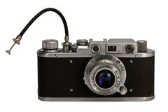 Old photographic camera. 35 mm old retro photographic camera isolated Royalty Free Stock Images