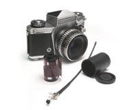 Old photographic equipment. Pieces Stock Photo