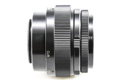 Old Photographic lens / Slr vintage lens / 85mm f2.0.  stock photography