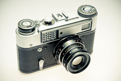 Old photography camera in vintage style Stock Photos