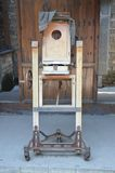 Old photography equipment. Old free-standing timber camera equipment. Picture taken May 2014 Royalty Free Stock Photos
