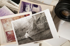 Old photography memories. Photos and camera royalty free stock photography