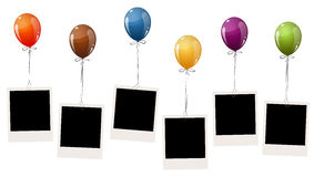 Old photos with balloons. Six old empty photos hanging on flying colored balloons Stock Image