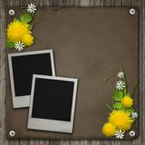 Old Photos Frames On The Wooden Desk Royalty Free Stock Photos