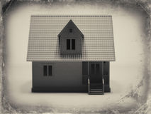 Old photos at home. 3d model of a house in the old photos Stock Photography