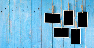 Old photos, photo frames,. Old photos,photo frames, on grungy planks background, free copy space Stock Images