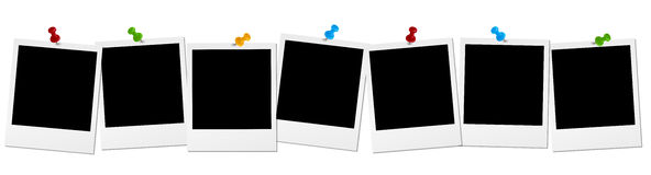 Old photos in a row. Seven old photos with colored pin needles in a row royalty free illustration