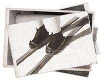 Old photos Vintage skis and boots Royalty Free Stock Photography
