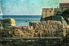 Old photos wit fortress of the old town of Budva, Montenegro Stock Photo