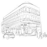 Old Phuket Town, Historical Building vector illustration