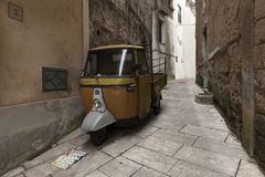 old Piaggio Ape motorcycle in Sant`Agata DE Goti, in italy Royalty Free Stock Photos
