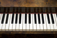 Old Piano Keys. Close up of keys on an old piano royalty free stock photos
