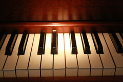 Old Piano Keys. Close up of keys on an old piano Royalty Free Stock Image
