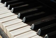 Old piano keys in macro Royalty Free Stock Photo