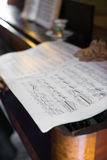 Old piano with notes. Royalty Free Stock Photography