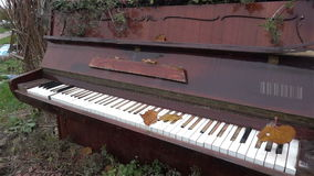 The old piano outside. Antique musical instruments. History. Museum, Art HD stock footage