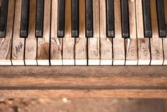 These Old Piano Keys. An old piano placed on a corner of Downtown. The keys are peeled and the wood is faded, and it`s a mistery as to why the yes/no message has stock photos