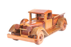 Old Pick-up Truck. Wooden toy car isolated on white Stock Photos