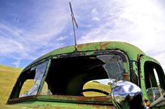 Old pickup with broken split windshield Stock Photography