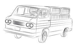 Old pickup drawing. Old american pickup digital drawing Stock Image