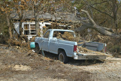Old pickup truck and debris in front of house heavily hit by Hurricane Ivan in Pensacola Florida Stock Images