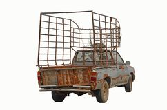 Old pickup truck with high stable for best carrier. On white background royalty free stock image