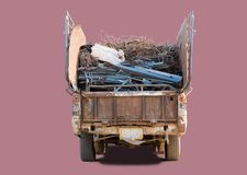 Old pickup truck. Carring scrap metal for recycling factory, isolated with clipping path royalty free stock photos