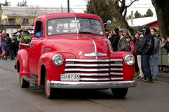 Old pickup truck. Red, in a parade of vintage cars Royalty Free Stock Photos