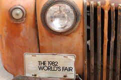 Old pickup world fair license plate Royalty Free Stock Photography