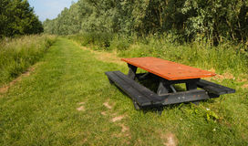 Old picnic table with bench in a park Stock Photo