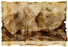 Old Picture. Mountains on aged paper Stock Photo