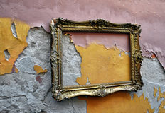 Old picture frame on grunge wall royalty free stock image