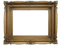 Old Brown Picture Frame on white stock images