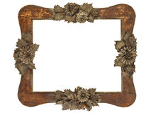 Old picture frame with wood cut grey flowers isola Royalty Free Stock Image