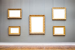 Old picture frames. At a museum - nice background with copy space Royalty Free Stock Image