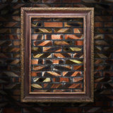 Old picture frames on the brick wall Royalty Free Stock Image