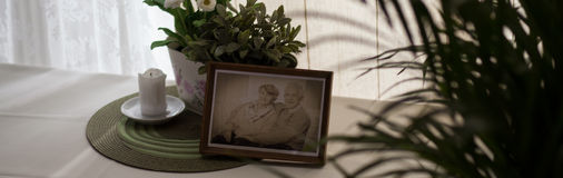 Old picture of married couple. Old framed sepia picture of a happy married couple Royalty Free Stock Photography