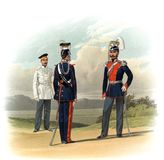An old picture of the Officers and soldiers of the Russian Empire. Public domain. From the book: the drawings of the guards. His Majesty. 1859 St. Petersburg Stock Images