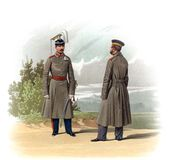 An old picture of the Officers and soldiers of the Russian Empire. Stock Photos