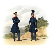 An old picture of the Officers and soldiers of the Russian Empire. Stock Image