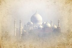 Old picture of Taj Mahal - Agra - India. Taj Mahal palace made like an old picture - Agra - India Stock Image