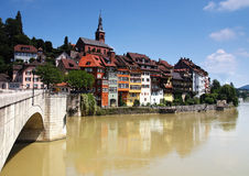 Old picturesque german town. Colorful bright houses upon a river Stock Photography