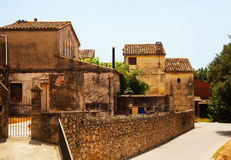 Old picturesque houses in Catalan village Royalty Free Stock Image